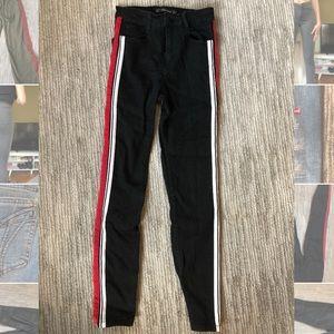 Zara black jeans with ribbon down side